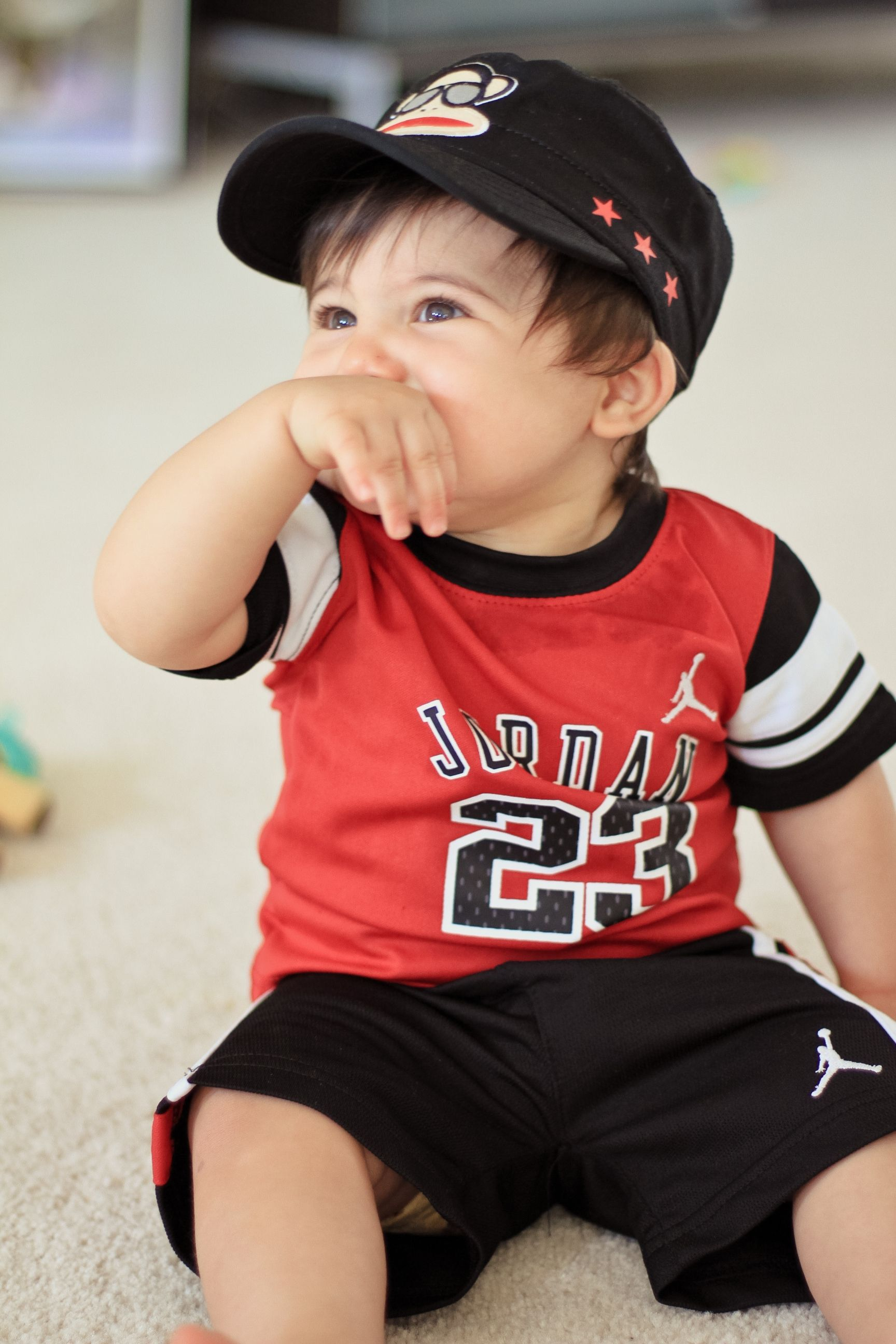 Air Jordan 23 Baby boy outfit with Paul Frank military hat from