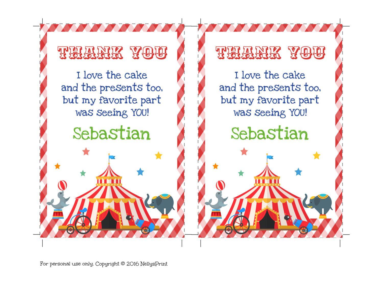 Circus Birthday Invitation Circus Thank You Card Carnival Party