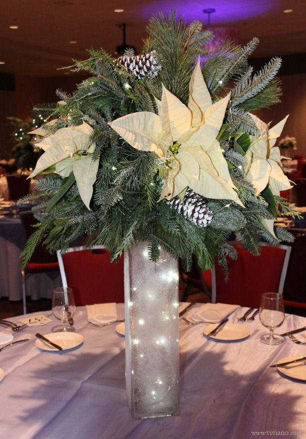 Corporate Holiday Party Frozen White And Blue Winter Theme Tall Christmas Tab Holiday Party Centerpieces Christmas Table Centerpieces Corporate Holiday Party