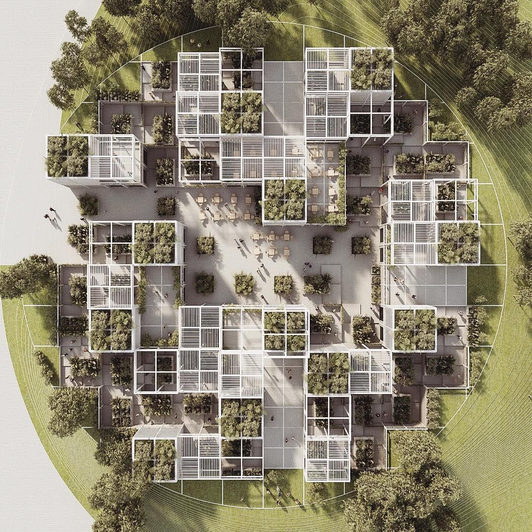 Circular square | more soon | by #penda #dailypenda / #penda_austria #startarchitects #arch… | Social housing architecture, Green architecture, Concept architecture