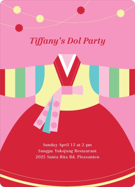 Korean first birthday invitations korean dol first birthday invitations pink filmwisefo