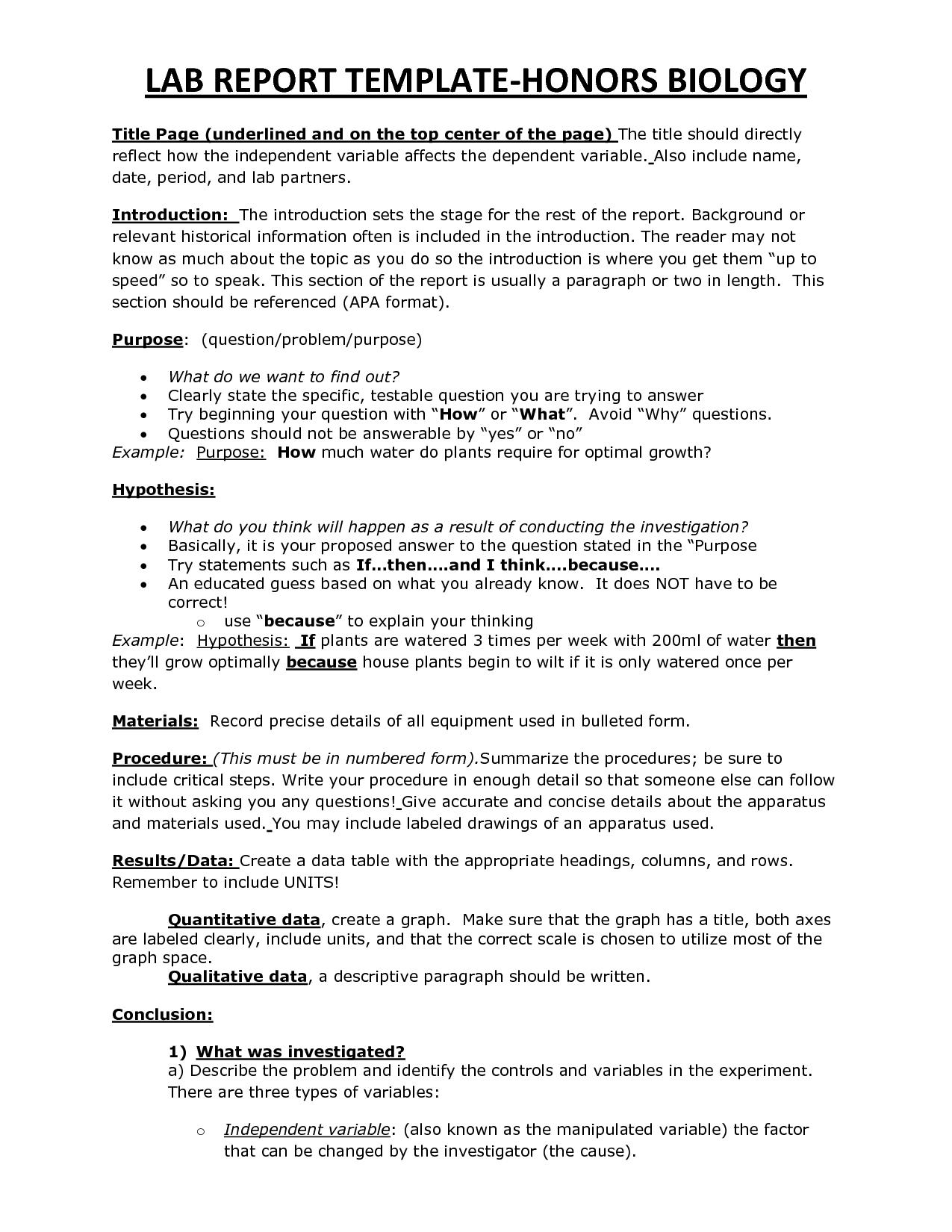 CHS HBio Lab Report Template  Biology  Lab report