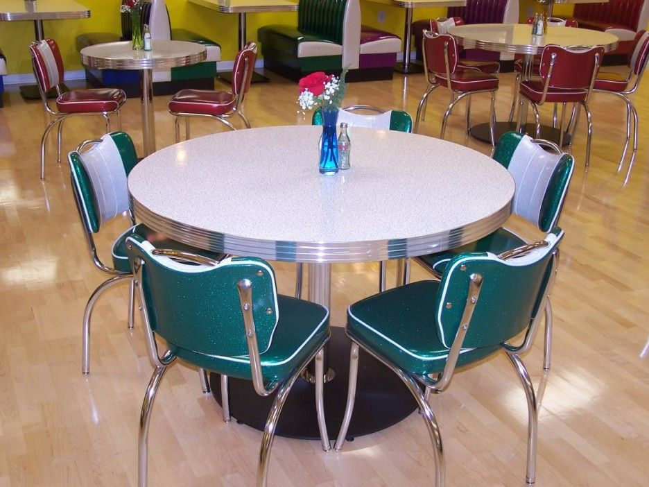 Retro Style Kitchen Table Gorgeous Design With Round White Tabletop On Metal Leg And Base Combine Green Chairs Silver Legs