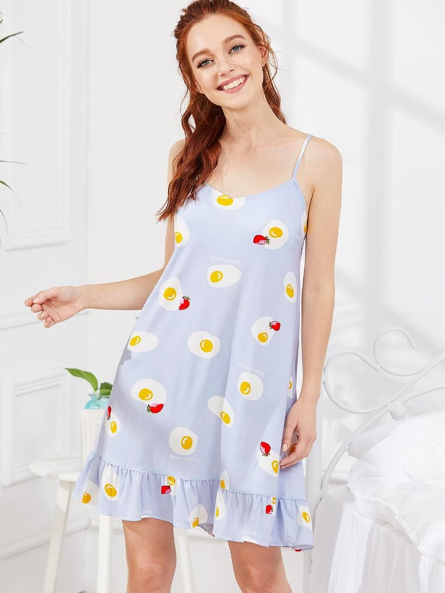 Egg Print Ruffle Hem Night Dress Shein Sheinside Cute Night Outfits Night Dress Night Outfits [ 1199 x 900 Pixel ]