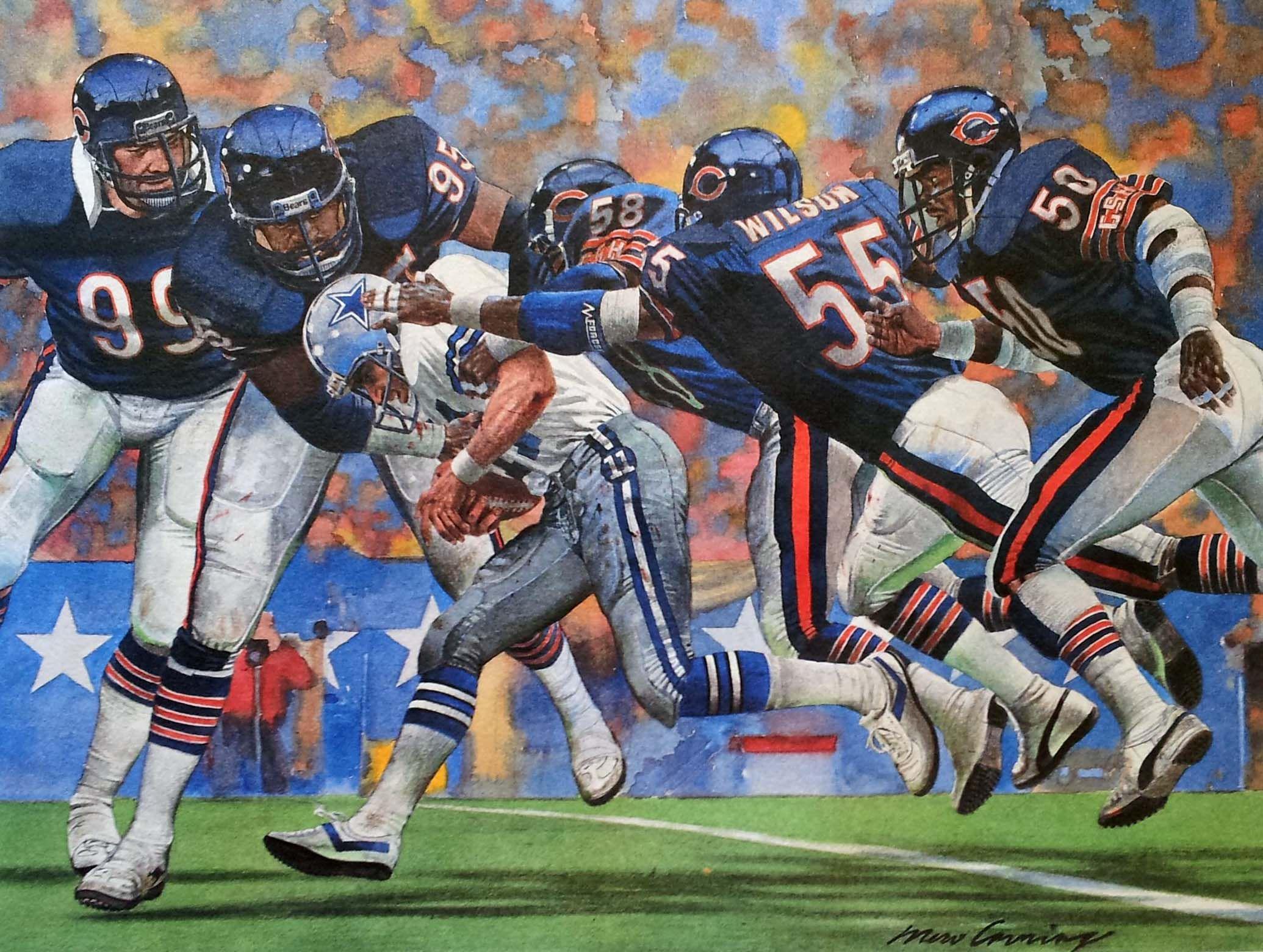 1985 Chicago Bears Vs. Dallas Cowboys, Sears Print By Merv