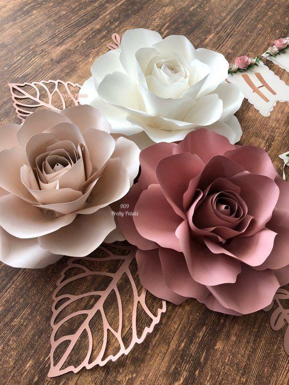 Set von 5 Papierblumen, Papierrosen, Kindergarten-Dekor, Wanddekoration - #KindergartenDekor #paper #Papierblumen #Papierrosen #Set #von #Wanddekoration #easypaperflowers
