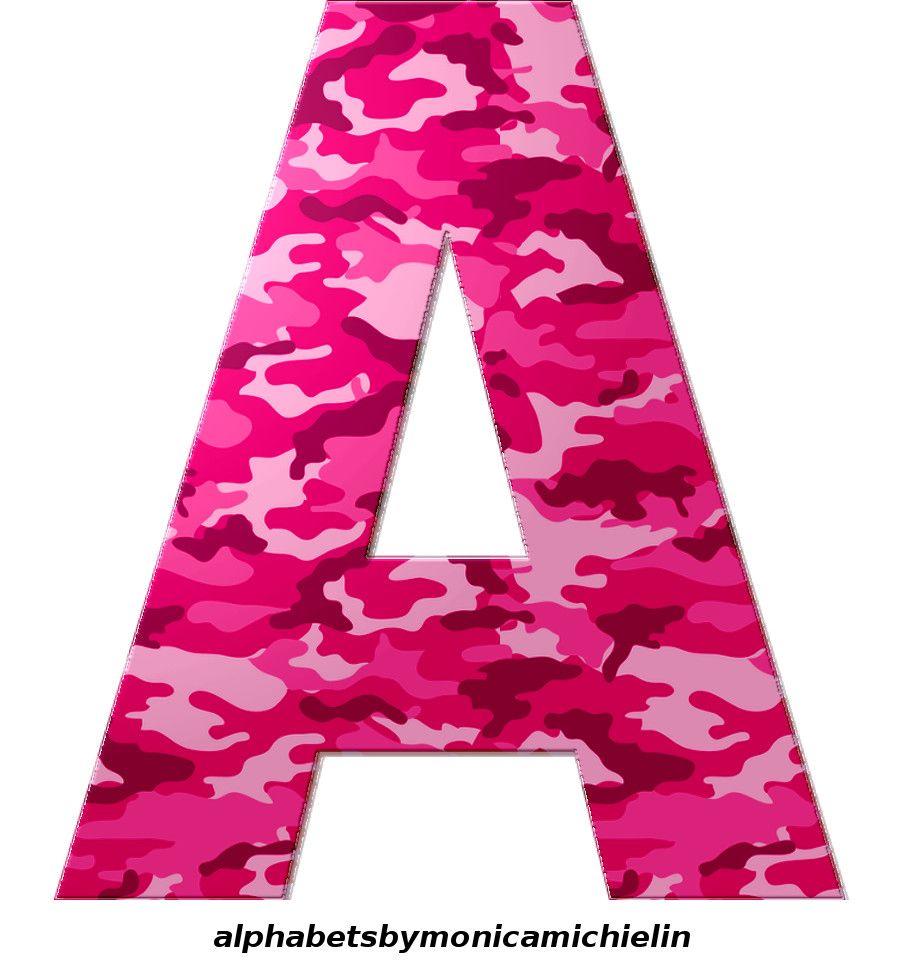 4 Pink Camouflage Big Alphabet Png Pink Camouflage Military Alphabet Alphabet