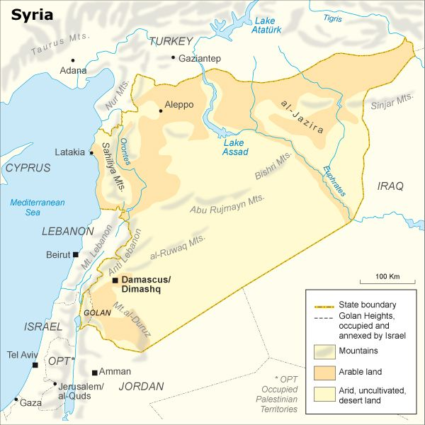 Good simple clean map of Syria It shows both the Golan Heights