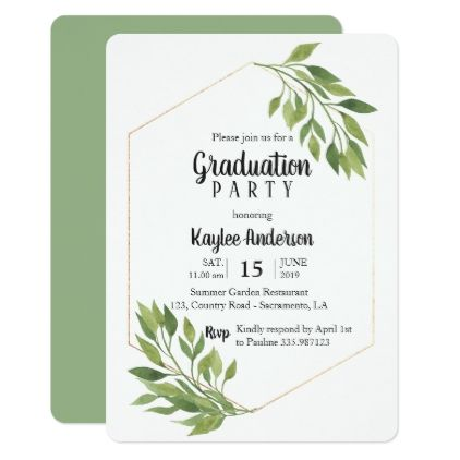 Greenery elegant Graduation Party card graduation party