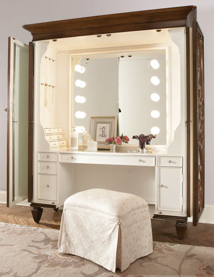 Ordinaire American Drew Jessica McClintock Couture Dressing Armoire With Castered  Stool