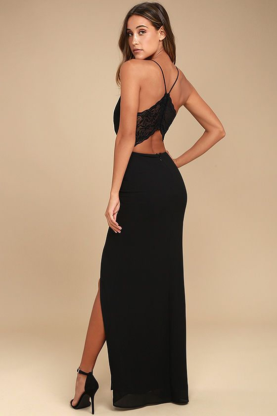 Story Of A Starry Night Black Backless Lace Maxi Dress In 2019
