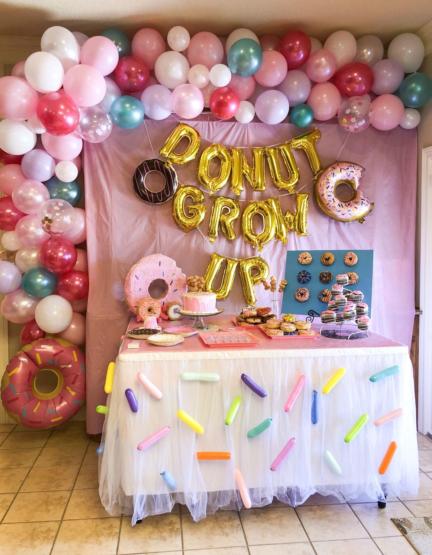 Donut Grow Up Birthday Party Donut Themed Birthday Party Donut Birthday Parties 1st Birthday Balloons