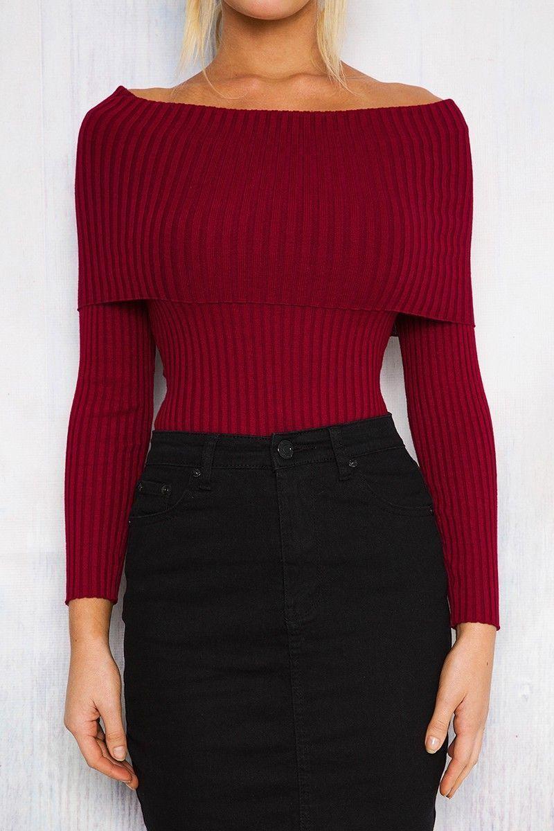 Zaki Winter Autumn Women Knitted Sweater Pullover Jumper Sex Slash ...