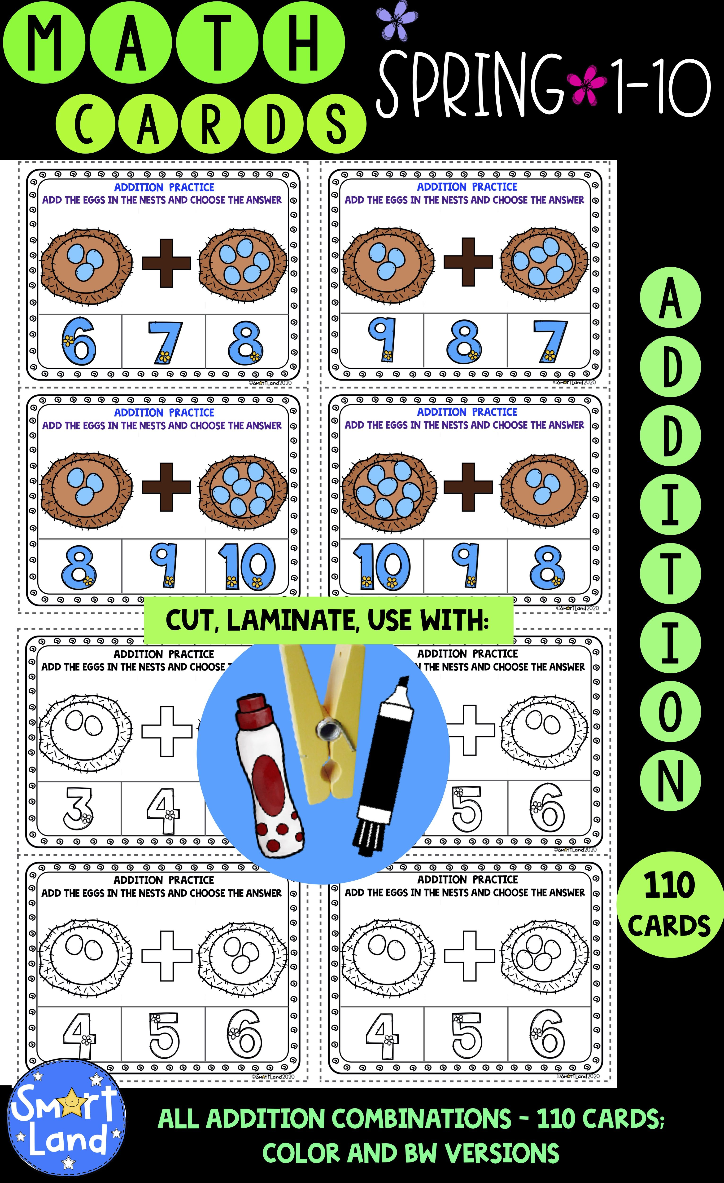 Math Cards Addition Nest Spring In