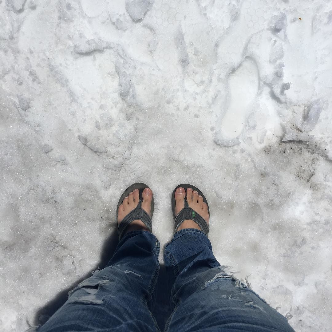 I got my toes in the sand oops I mean snow