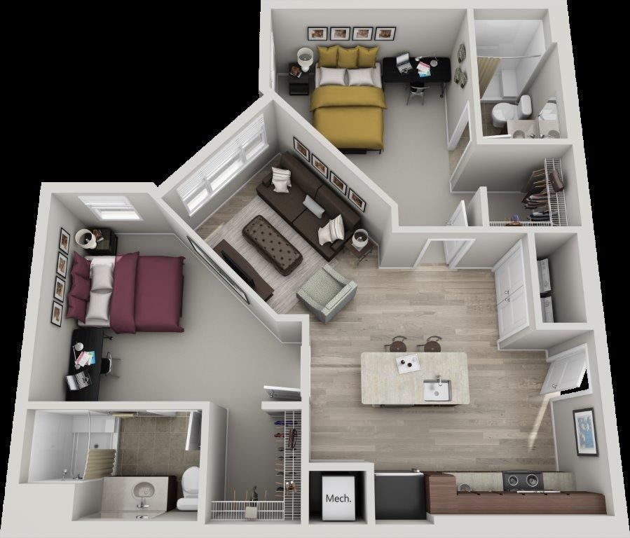 The Kingsport 2 Bedroom 2 Bath 935 Sq Ft Apartment Layout Sims House Plans Small Apartment Layout