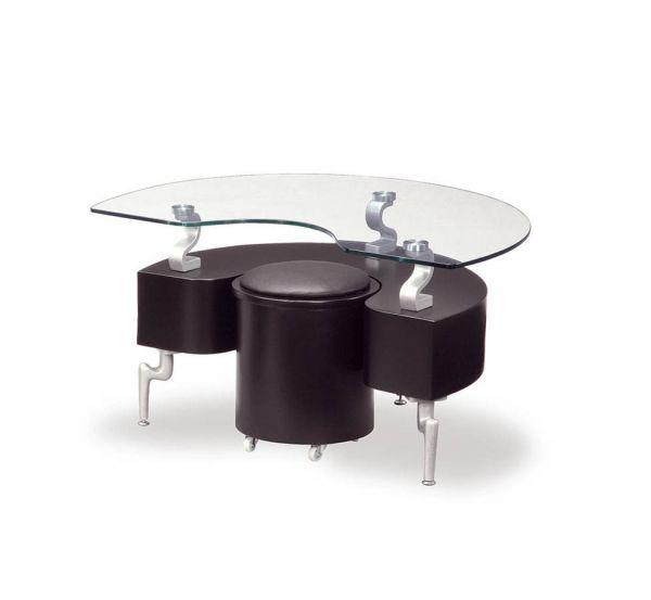 T288 Series Black Silver MDF Wood PVC Metal End Table