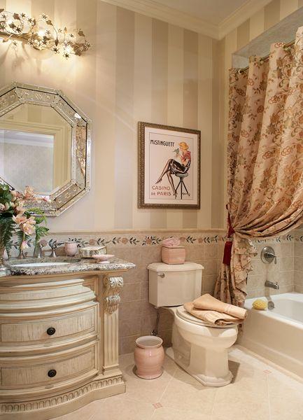 Striped beige and white Master bathroom Elegant lovely ...