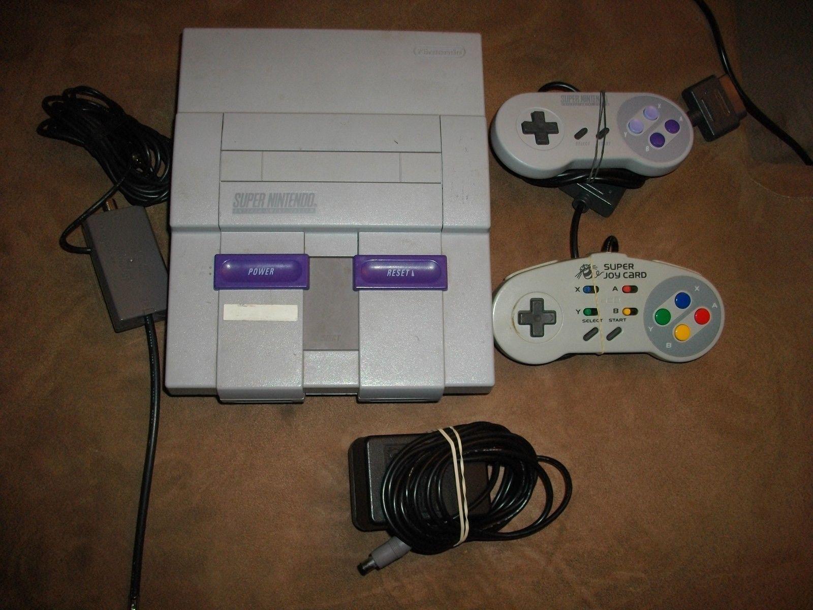 SNES Super Nintendo Original Console System Bundle w 2