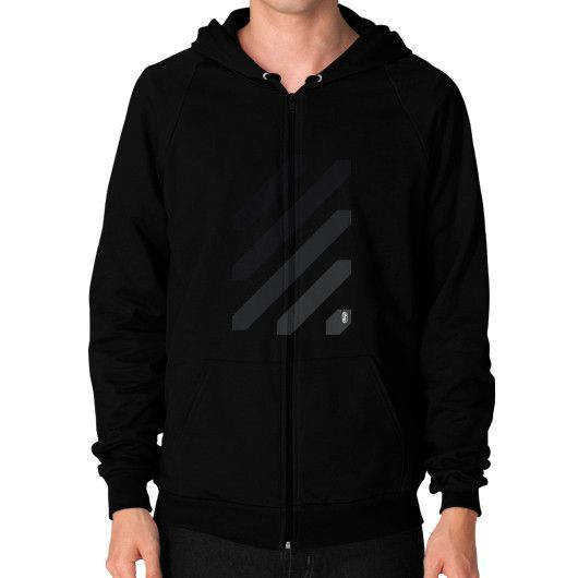 Stripes Black to Grey Evolution Zip Hoodie (on man) Shirt