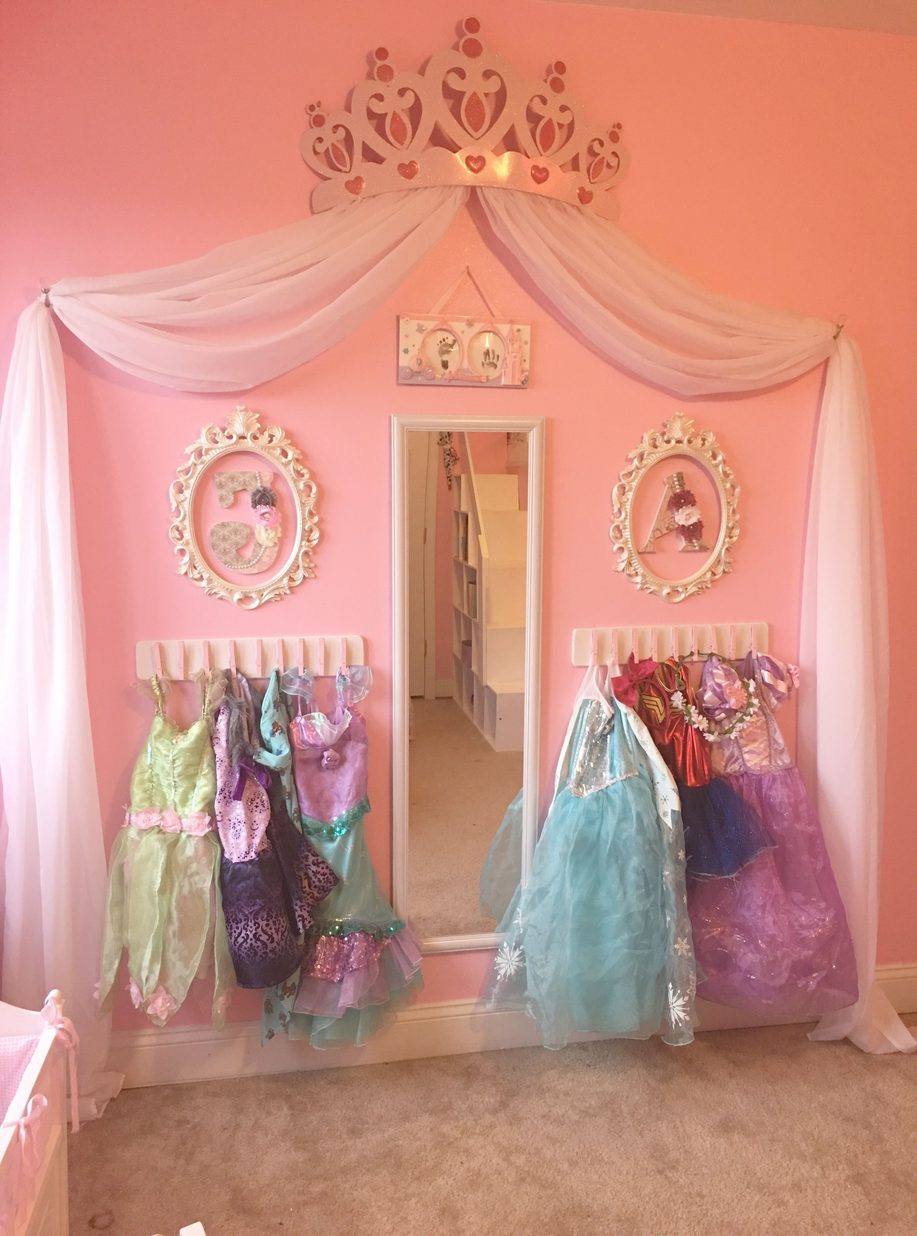 Princess dress up storage diy. Cheap and super easy! Frees space
