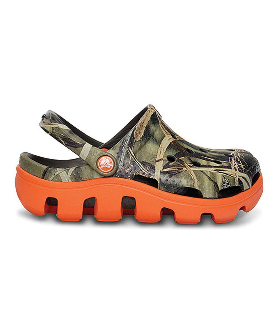 This Crocs Chocolate & Orange Duet Sport Realtree® Clog