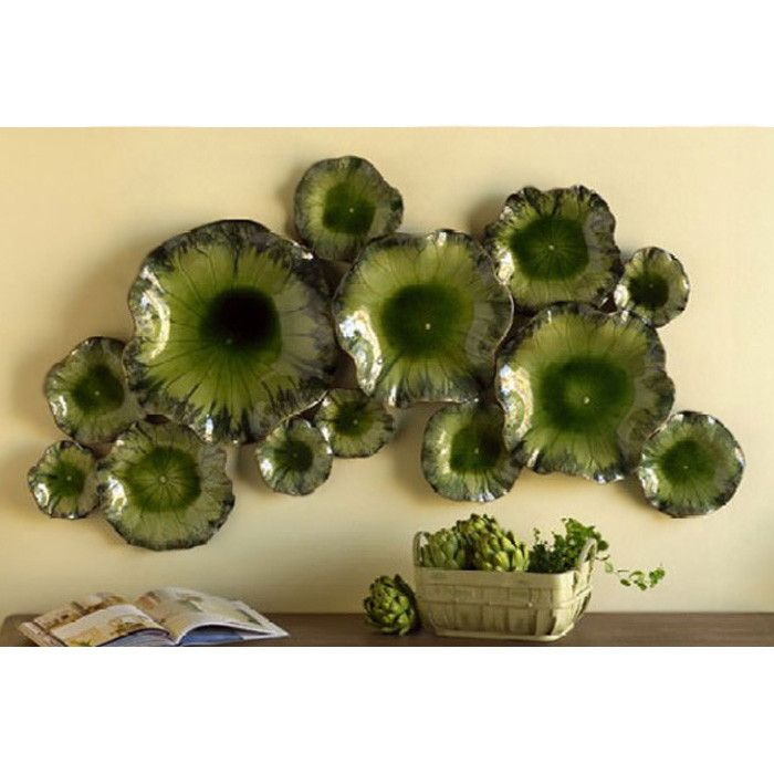 Ceramic Wall Flower Decor: Lily Pad Ceramic Wall Decor
