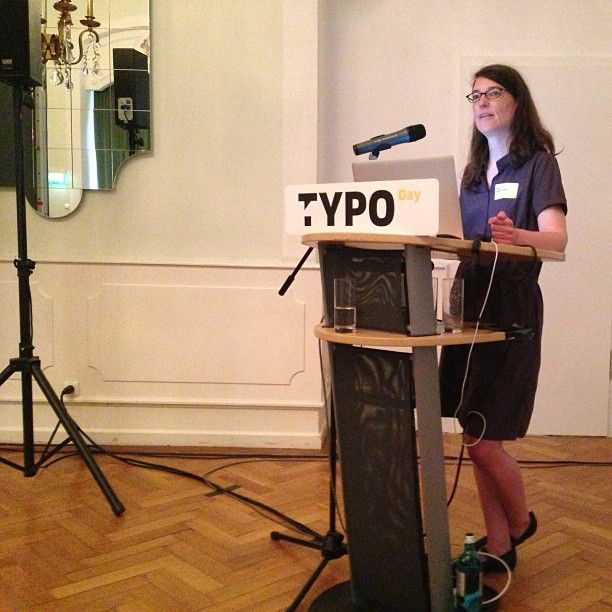 "Indra Kupferschmid about Corporate Fonting at TYPO Day Mainz: ""Font Classification And Combination"" ."