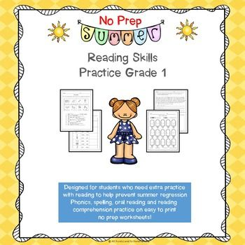 This no prep resource can be used to review phonics skills you have taught throughout the year related to reading or to help prevent regression over the summer for students who may be struggling to maintain skills. Although the focus is on phonics there are also fill in the blank sentences and short reading passages with a reading comprehension component.