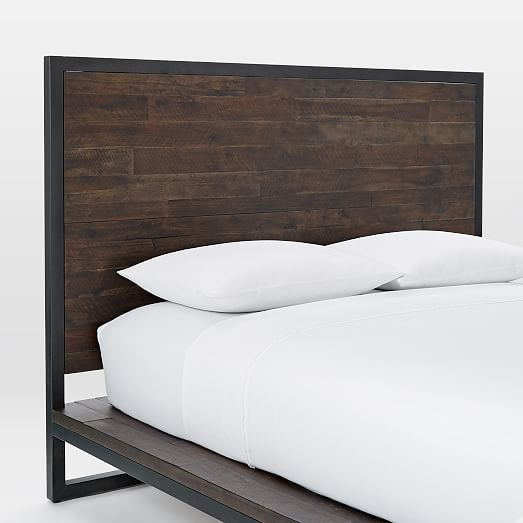 Logan Industrial Platform Bed Smoked Brown Industrial Platform