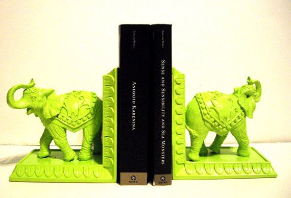 (iu0027d Probably Paint These) Lime Green Elephant Bookends Kitsch/ Home Decor