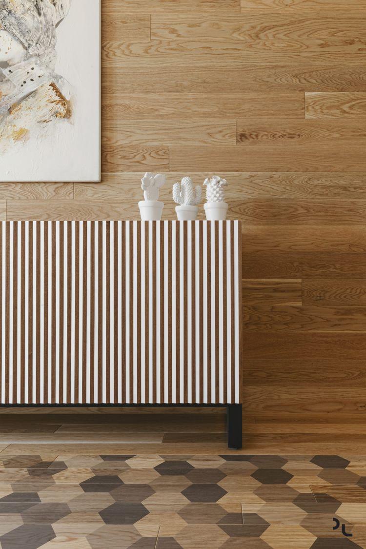 Ansprechend Moderne Bodenbeläge Ideen Von Holz Modern Wohnzimmer Detail Sideboard Wandverkleidung Holzboden