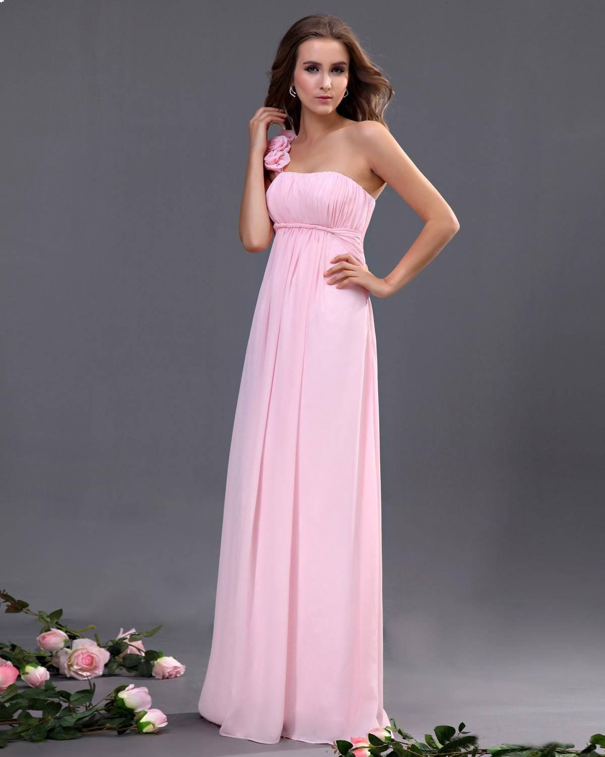 One Shoulder Chiffon Floor Length Bridesmaid Dress | Dream Wedding ...