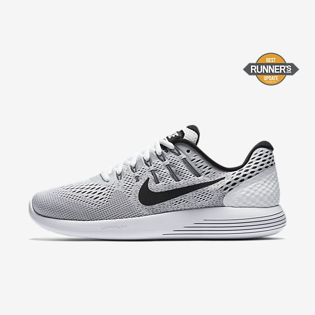 06f4b47ee92 Nike Lunarglide 8 Mens Running Shoes 9 White Black Wolf Grey 843725 100   Nike  RunningCrossTraining