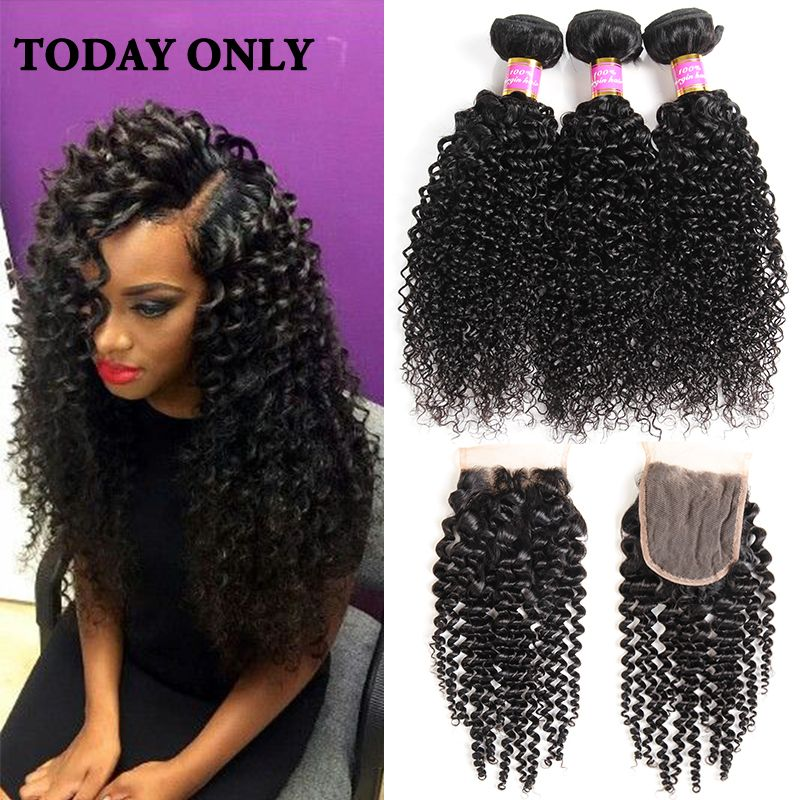 8A Virgin Malaysian Curly Hair With Closure Afro Kinky Curly Weave Human Hair Bundles With Lace Closures Kinky Curly Virgin Hair