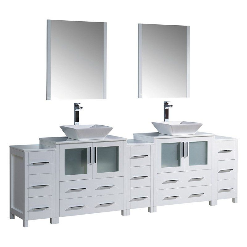 Fresca Torino 96 in Double Bathroom Vanity with Vessel Sinks from