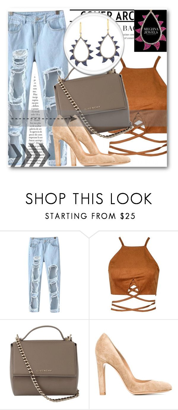"""Meghna Jewels !"" by dianagrigoryan ❤ liked on Polyvore featuring Chicnova Fashion, Givenchy and Gianvito Rossi"