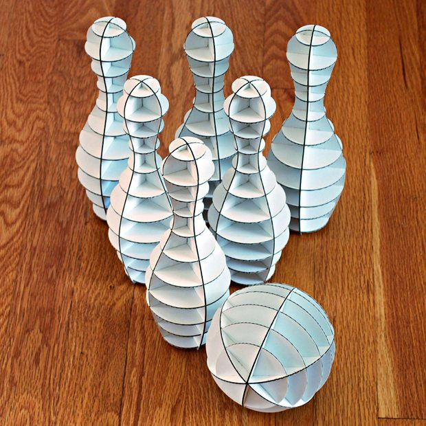 Laser Cut Cardboard Office Bowling Set