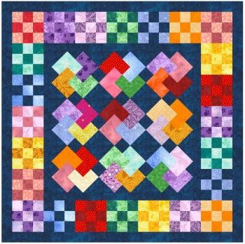 BOM 9 patch squares with different layouts, including card trick block. Good rainbow colour palette used. Block of the Month April 2006