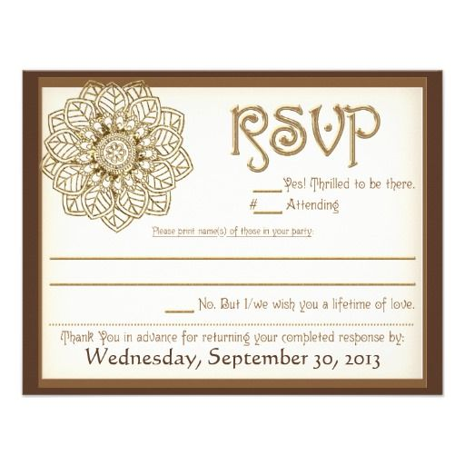 Mehndi Lace 425x55 RSVP card Hindu Wedding Invitations