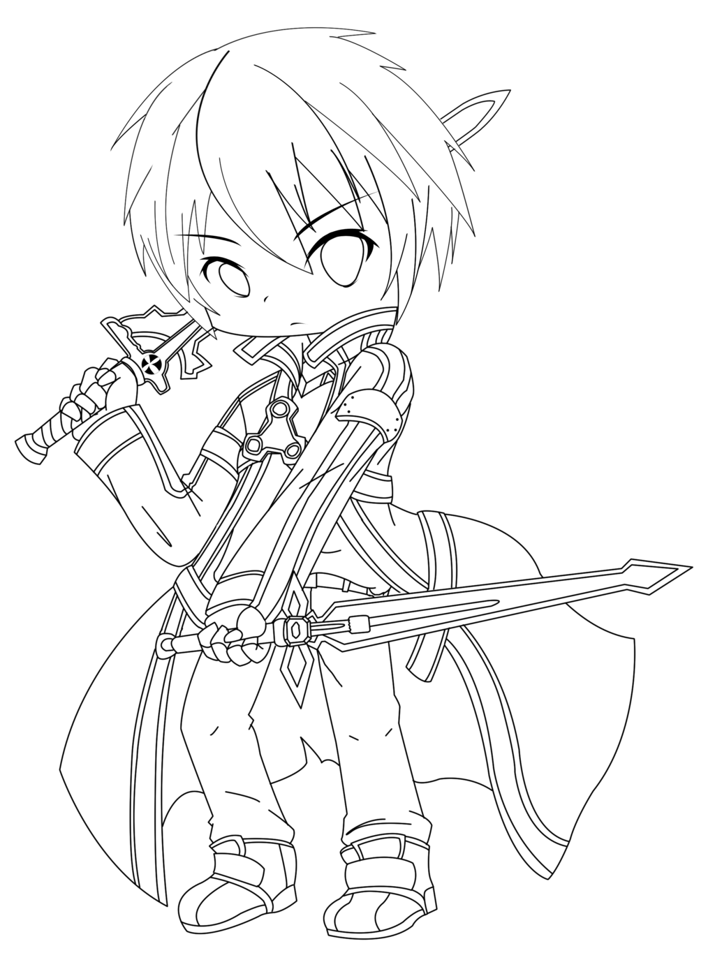 sao coloring pages Kirigaya Kazuto Chibi(Kirito) by AkaruiYuu | LineArt: Sword Art  sao coloring pages