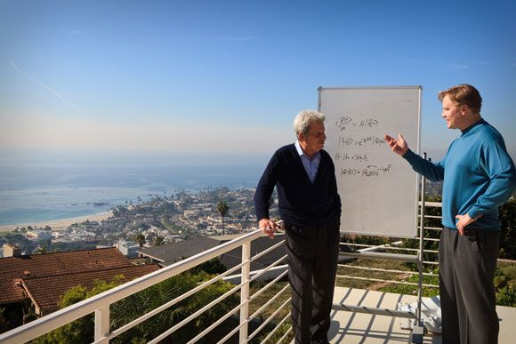 Chapman University physicists Yakir Aharonov (left) and Jeff Tollaksen at the Quantum House in Laguna Beach - a house Tollaksen rents, where world-renowned physics researchers come to stay and brainstorm.