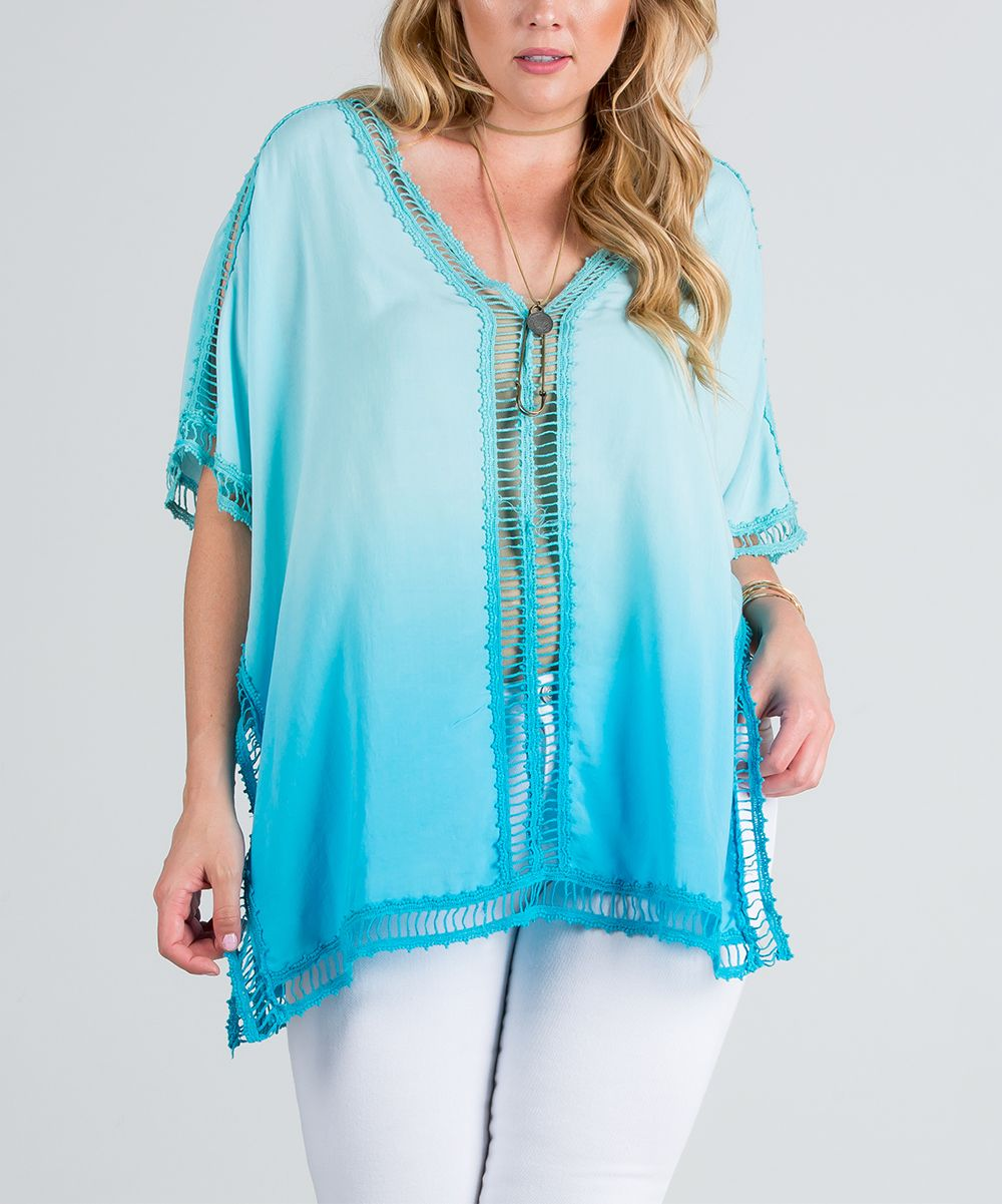 Sky Blue Ombré Crochet-Trim Poncho - Plus