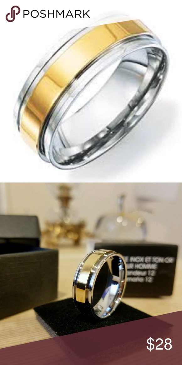 AVON STAINLESS STEEL TWO TONE BAND RING Band rings