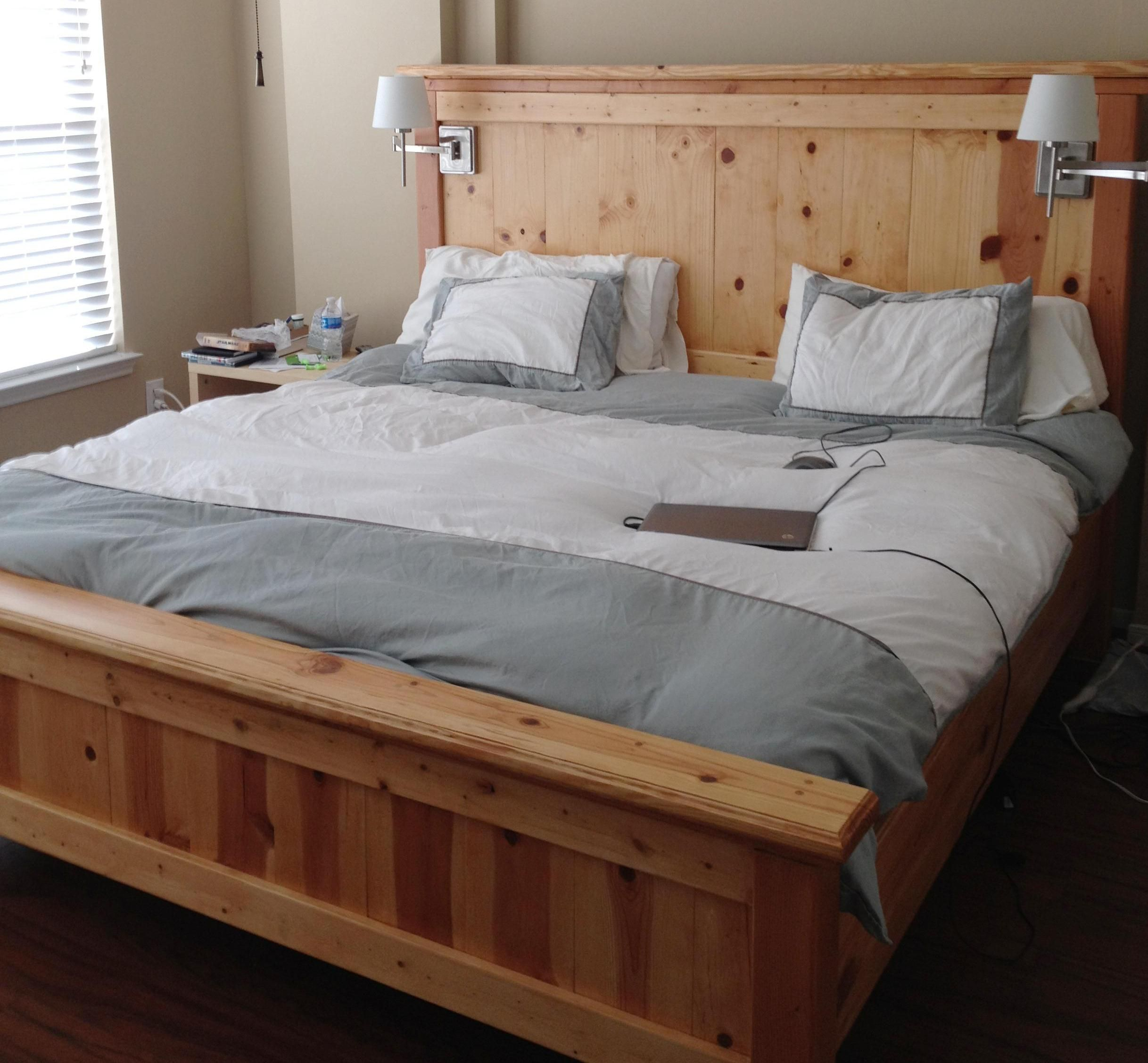 Bed frames with storage plans - King Farmhouse Bed Love The Natural Pine King Size Bed Frame Plans