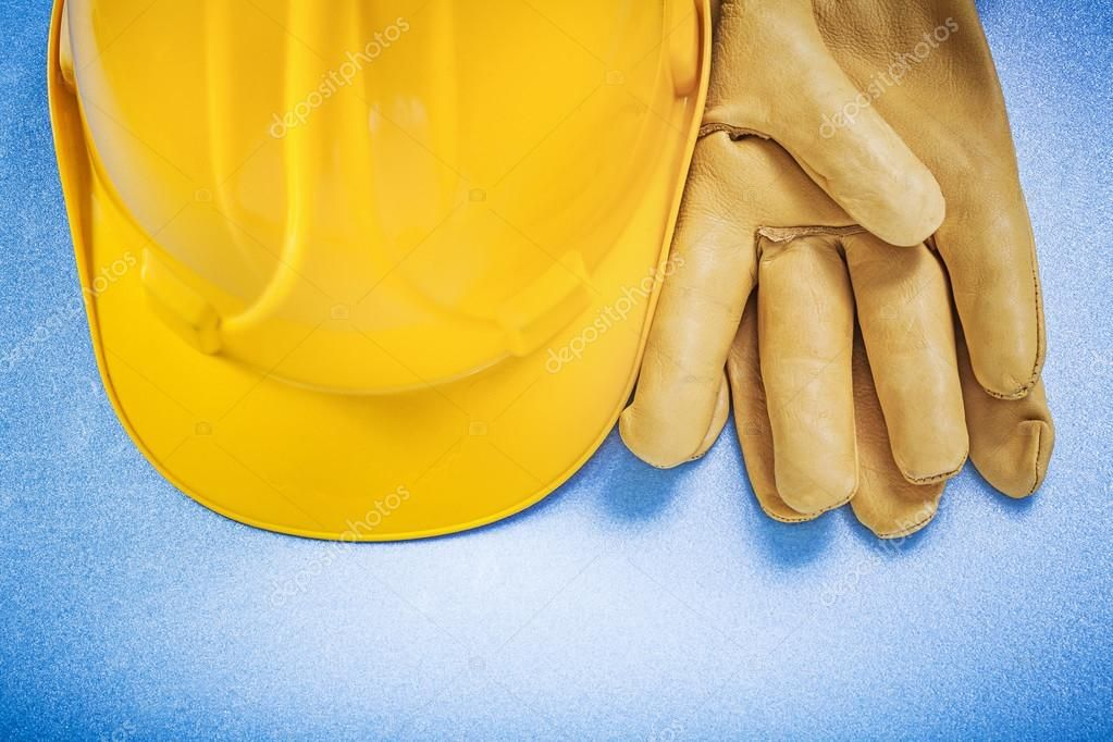 Building helmet and leather safety gloves Stock Photo ,