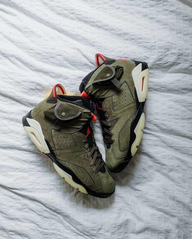 Air Jordan 6 Travis Scott Medium Olive | Jordanie, Nike air jordan ...