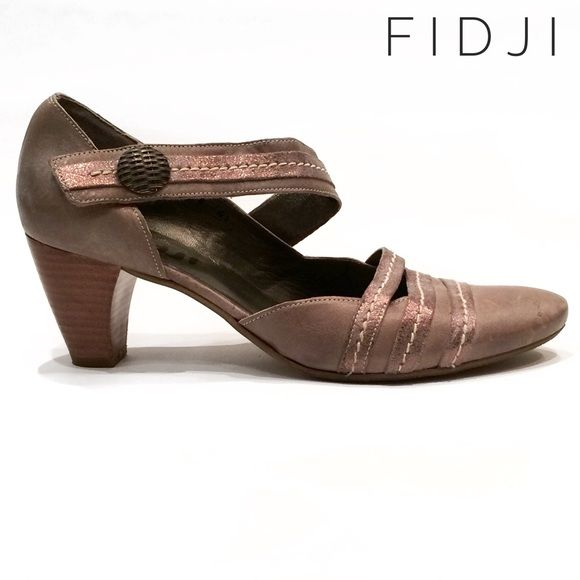 Fidji taupe metallic leather mary jane pumps heels Fidji taupe metallic leather mary jane pumps heels. In fair condition, with wear and scuffing throughout. Fidji Shoes Heels