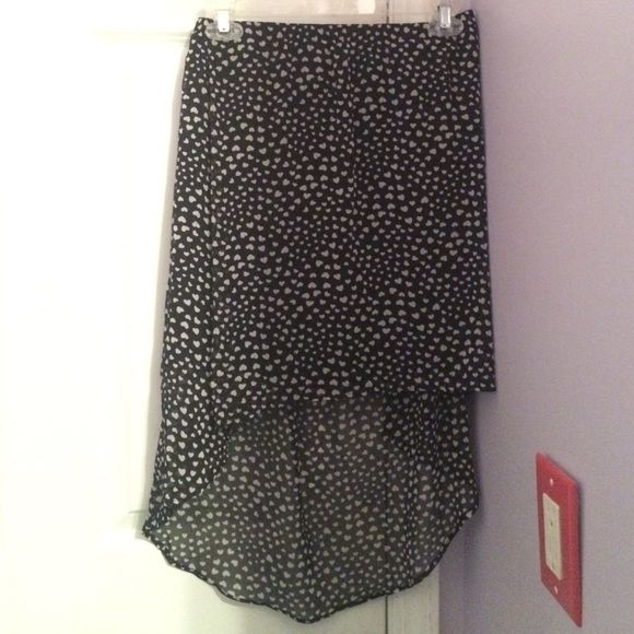 Garage High-low Hearts Skirt Like new! No wears or tares. Fun heart print. Black and white. Only worn a few times. Garage Skirts High Low
