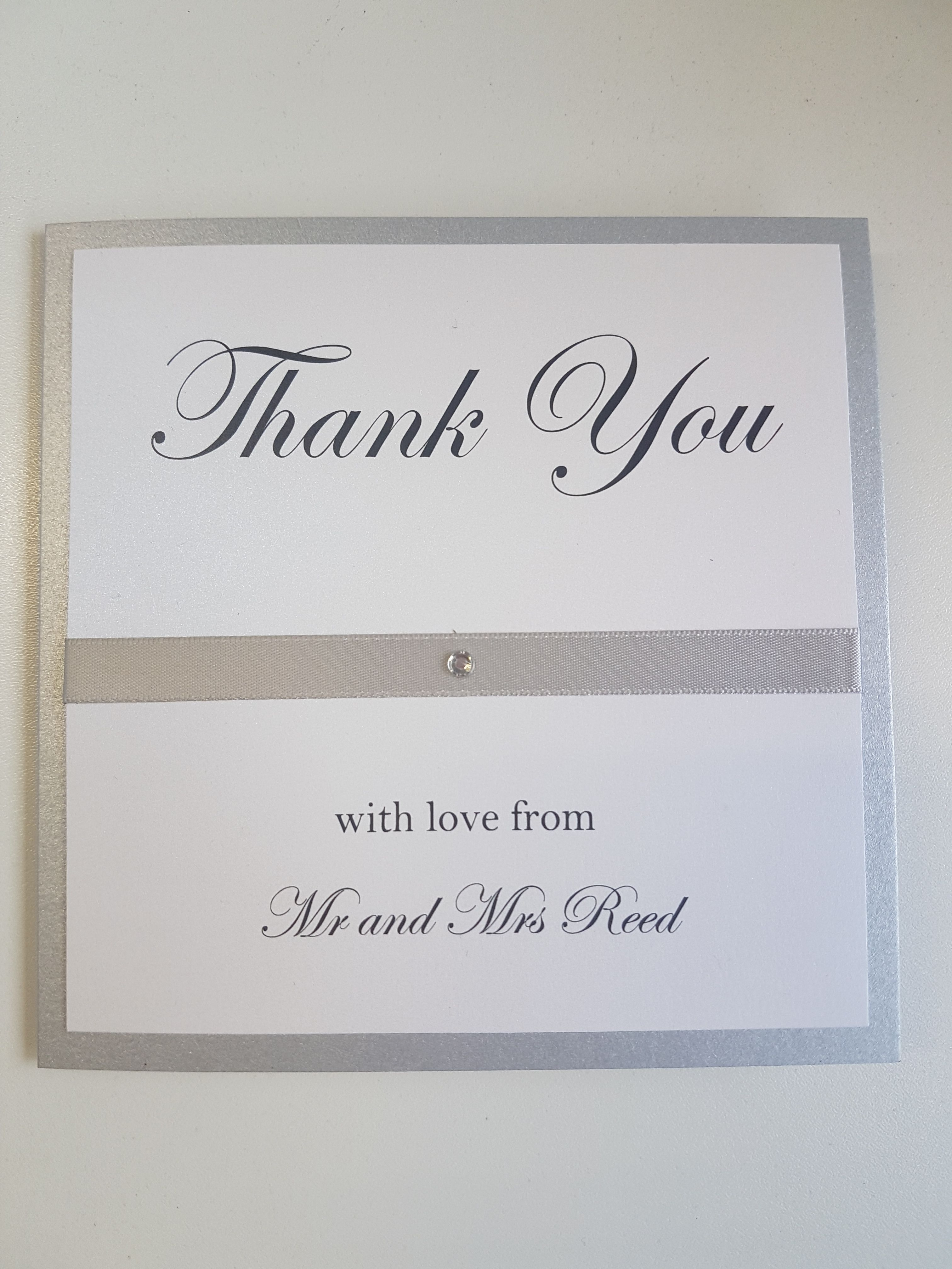Thank You Cards From The New Mr Mrs Bespoke Wording And Designs